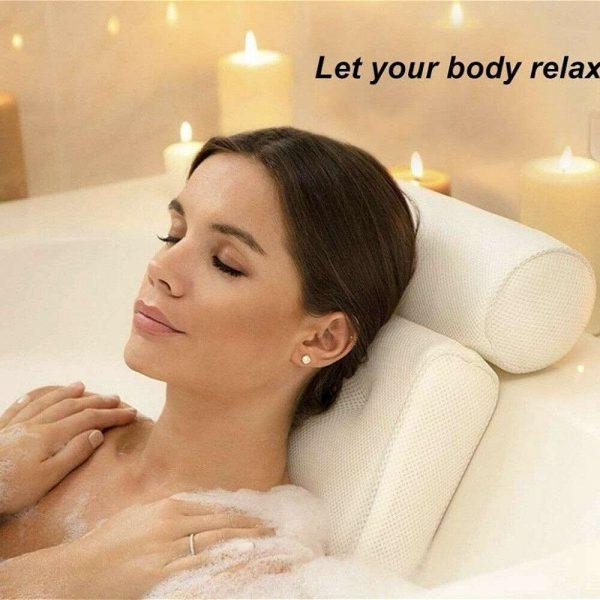 3d Mesh Neck Back Premium Waterproof Luxury Comfortable Bath Spa Pillow Cushion (2)