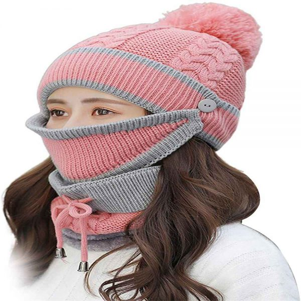 3pcs Women Beanie Hat Pom Bobble Scarf Mask Set Knitted Winter Warm Snow Ski Cap (1)
