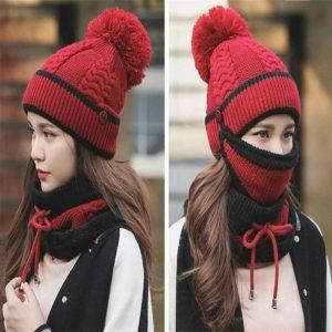 3pcs Women Beanie Hat Pom Bobble Scarf Mask Set Knitted Winter Warm Snow Ski Cap (10)