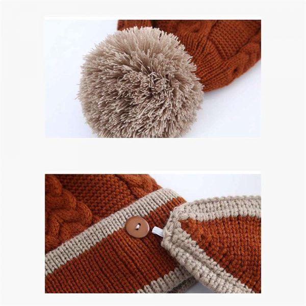 3pcs Women Beanie Hat Pom Bobble Scarf Mask Set Knitted Winter Warm Snow Ski Cap (2)