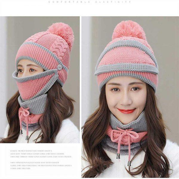 3pcs Women Beanie Hat Pom Bobble Scarf Mask Set Knitted Winter Warm Snow Ski Cap (3)