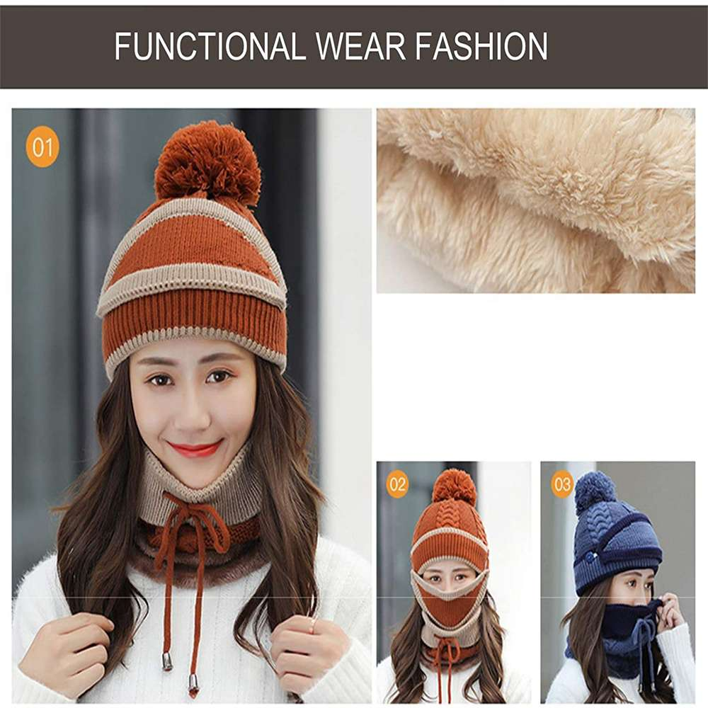3pcs Women Beanie Hat Pom Bobble Scarf Mask Set Knitted Winter Warm Snow Ski Cap (5)