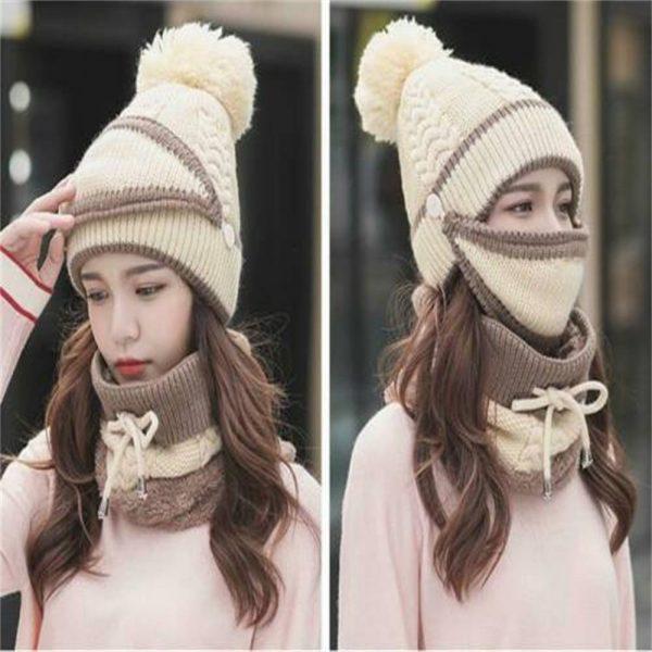 3pcs Women Beanie Hat Pom Bobble Scarf Mask Set Knitted Winter Warm Snow Ski Cap (6)