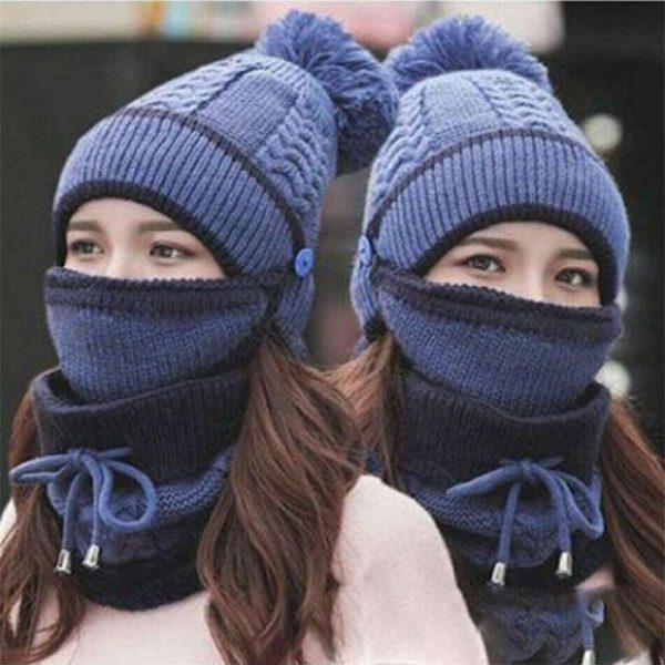 3pcs Women Beanie Hat Pom Bobble Scarf Mask Set Knitted Winter Warm Snow Ski Cap (7)