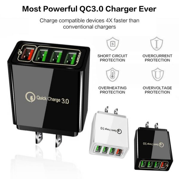 4 Port Fast Quick Charge Qc 3.0 Usb Hub Wall Charger Power Adapter Us Plug (10)