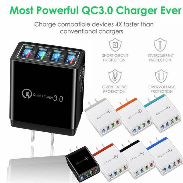 4 Port Fast Quick Charge Qc 3.0 Usb Hub Wall Charger Power Adapter Us Plug (11)