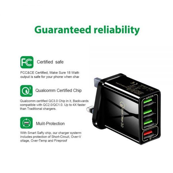 4 Usb Port Fast Quick Charge Qc 3.0 Usb Hub Wall Charger Adapter Uk Plug (11)