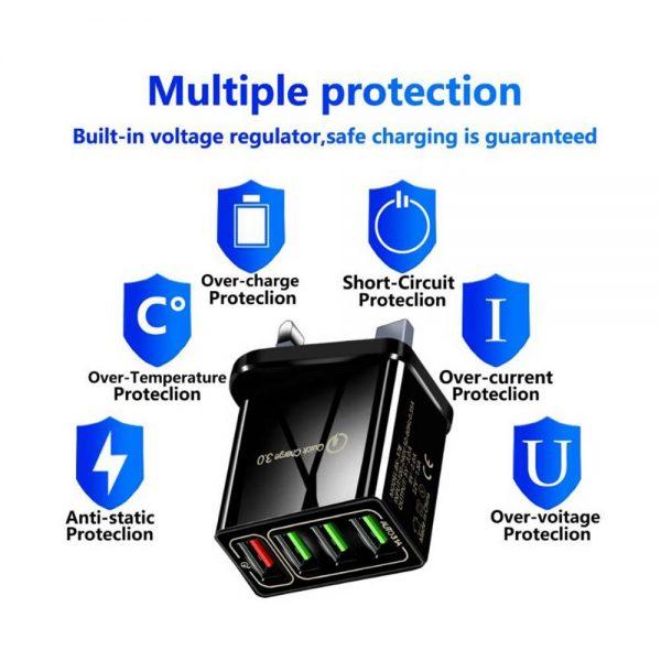 4 Usb Port Fast Quick Charge Qc 3.0 Usb Hub Wall Charger Adapter Uk Plug (12)