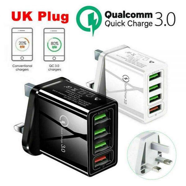 4 Usb Port Fast Quick Charge Qc 3.0 Usb Hub Wall Charger Adapter Uk Plug (2)