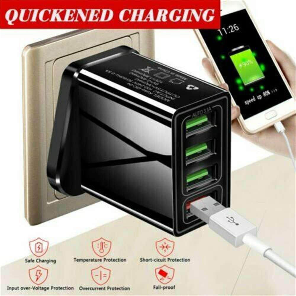 4 Usb Port Fast Quick Charge Qc 3.0 Usb Hub Wall Charger Adapter Uk Plug (4)