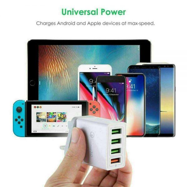4 Usb Port Fast Quick Charge Qc 3.0 Usb Hub Wall Charger Adapter Uk Plug (5)
