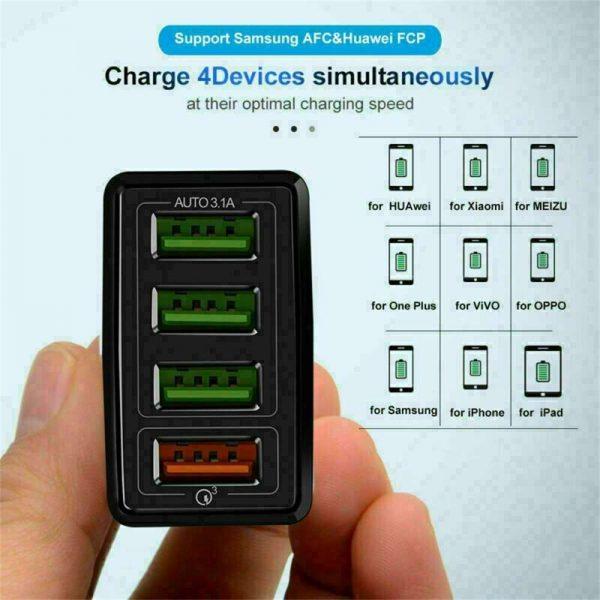 4 Usb Port Fast Quick Charge Qc 3.0 Usb Hub Wall Charger Adapter Uk Plug (9)