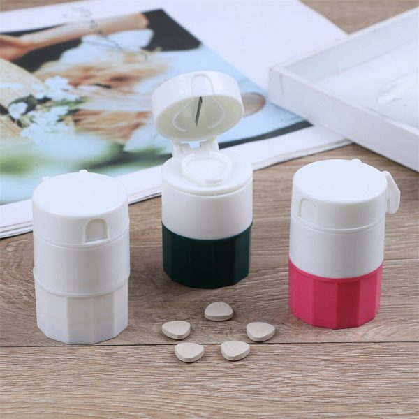 4 In 1 Pill Medicine Crusher Grinder Splitter Tablet Divider Cutter Storage B (10)