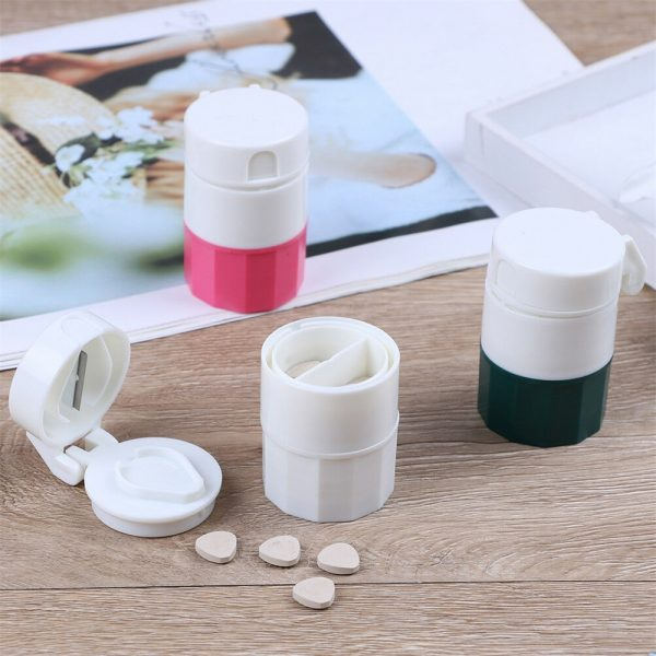 4 In 1 Pill Medicine Crusher Grinder Splitter Tablet Divider Cutter Storage B (9)