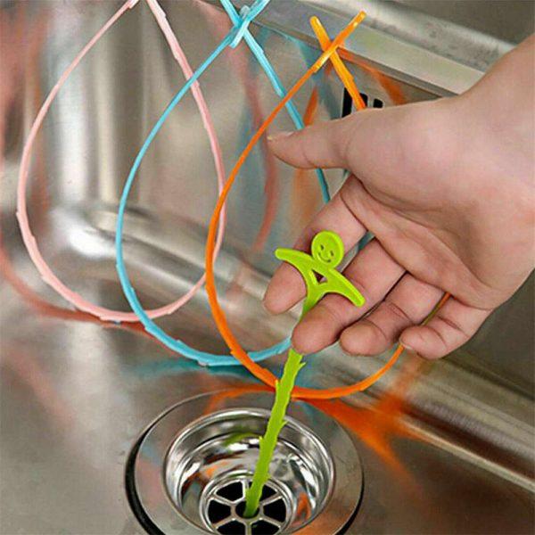 51cm Long Drain Unblocker Stick Tool Hair Remover Sink Shower Bath Cleaner Snake (9)