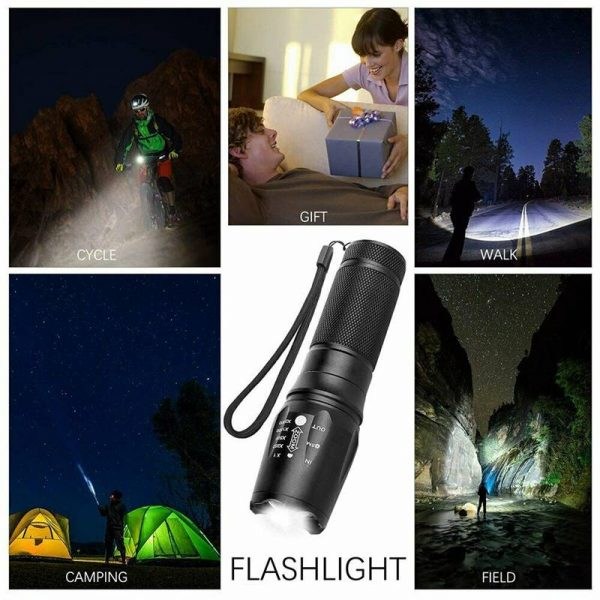 8000lm T6 Led Flashlight Tactical Zoomable Torch Lamp Light Waterproof Lantern (10)