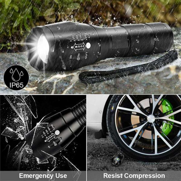 8000lm T6 Led Flashlight Tactical Zoomable Torch Lamp Light Waterproof Lantern (11)