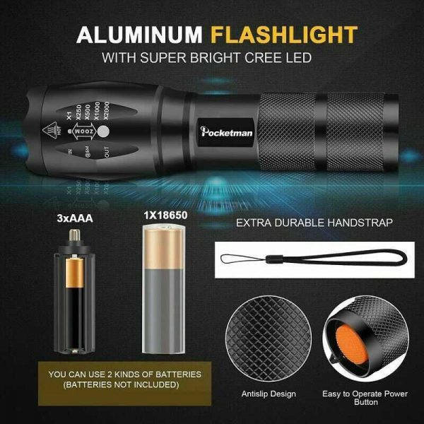 8000lm T6 Led Flashlight Tactical Zoomable Torch Lamp Light Waterproof Lantern (2)