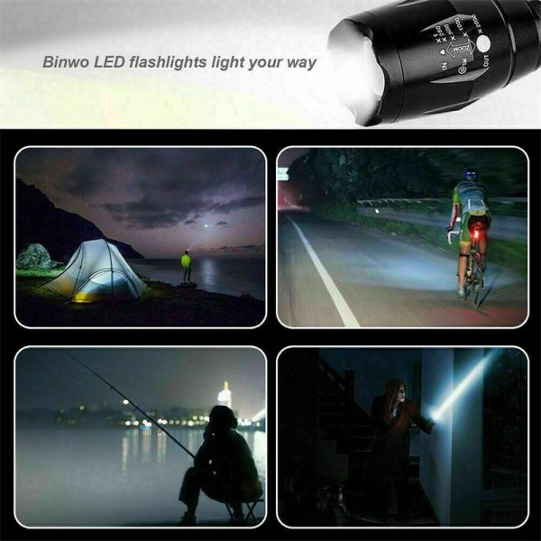 8000lm T6 Led Flashlight Tactical Zoomable Torch Lamp Light Waterproof Lantern (8)