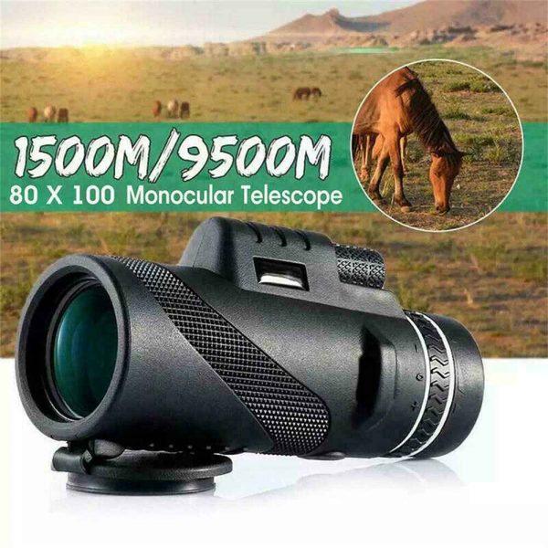 80x100 Hd Monocular Telescope Phone Camera Zoom Starscope Hiking Tripod Tools (10)