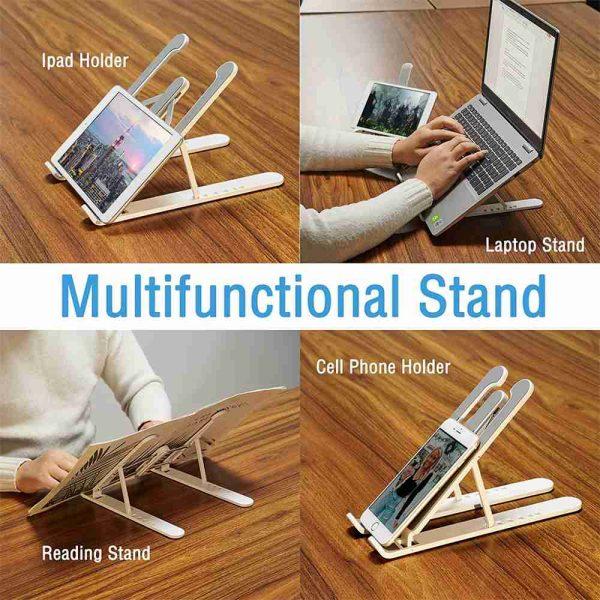 Adjustable Foldable Laptop Stand Fr Desk Portable Notebook Riser Computer Holder (4)