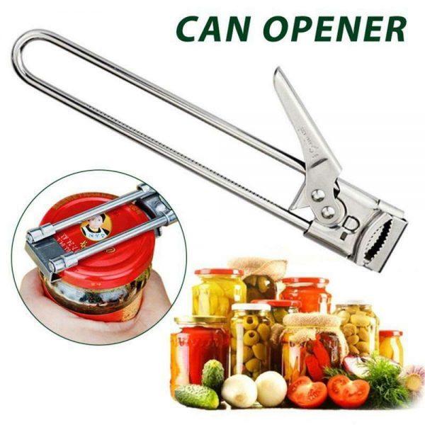 Adjustable Multifunctional Stainless Steel Can Opener Jar Lid Gripper Kitchen (2)