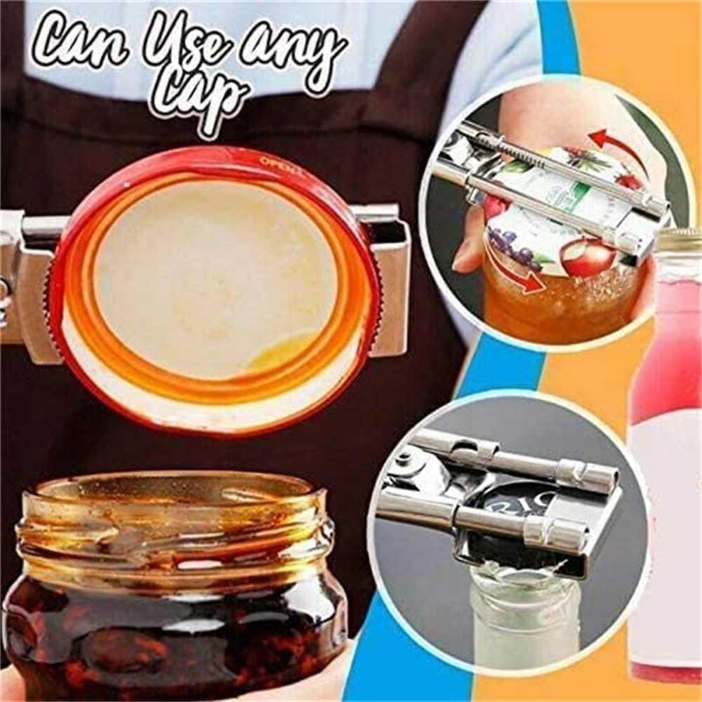 Adjustable Multifunctional Stainless Steel Can Opener Jar Lid Gripper Kitchen (6)