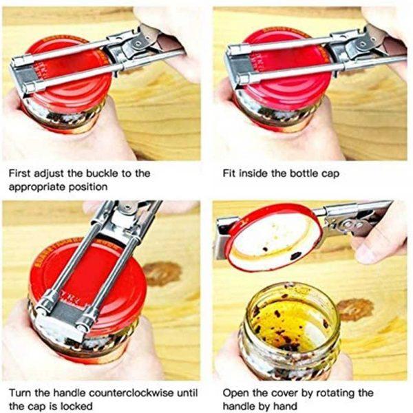Adjustable Multifunctional Stainless Steel Can Opener Jar Lid Gripper Kitchen (7)