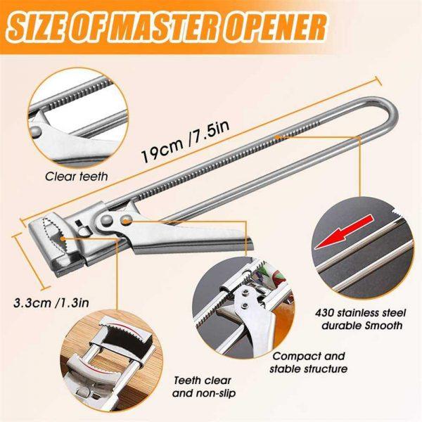 Adjustable Multifunctional Stainless Steel Can Opener Jar Lid Gripper Kitchen (9)