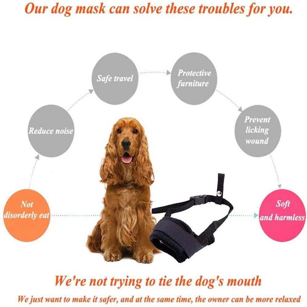 Adjustable Pet Dog Mask Small&large Mouth Muzzle Grooming Anti Stop Bark Bite (4)