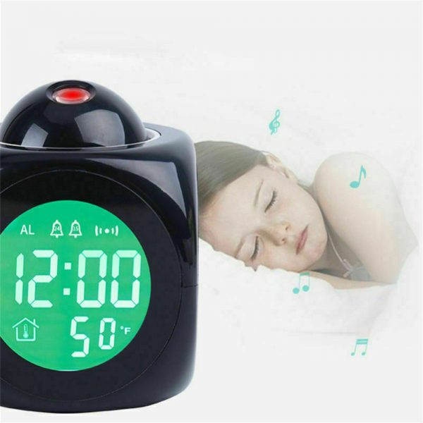 Alarm Clock Led Wallceiling Projection Lcd Digital Voice Talking Temperature (10)