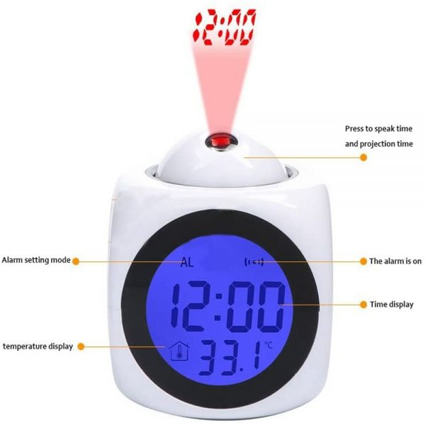 Alarm Clock Led Wallceiling Projection Lcd Digital Voice Talking Temperature (2)