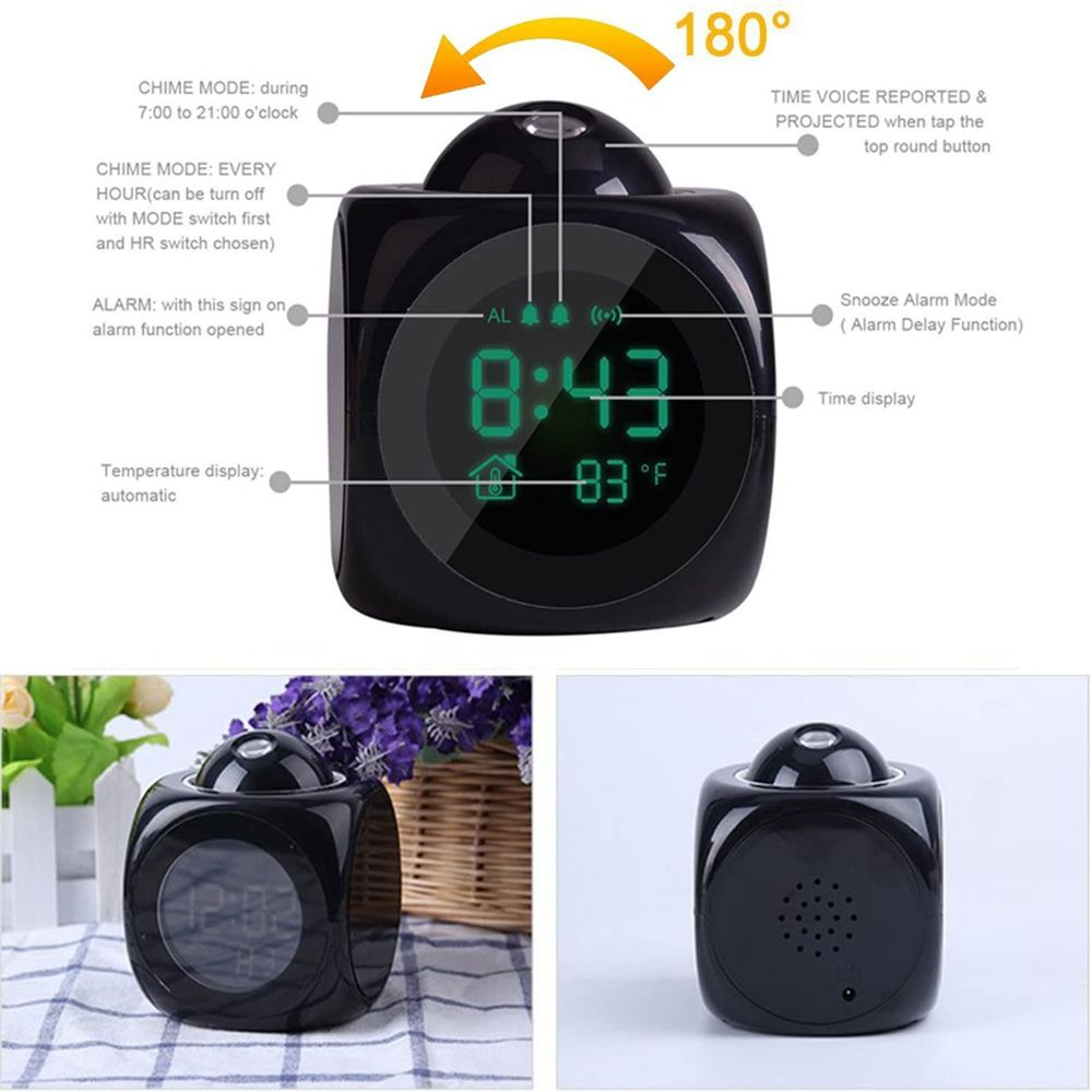 Alarm Clock Led Wallceiling Projection Lcd Digital Voice Talking Temperature (4)