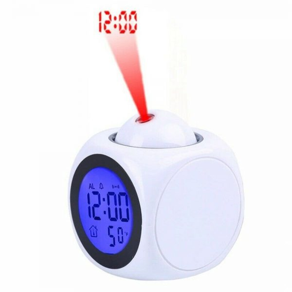 Alarm Clock Led Wallceiling Projection Lcd Digital Voice Talking Temperature (5)