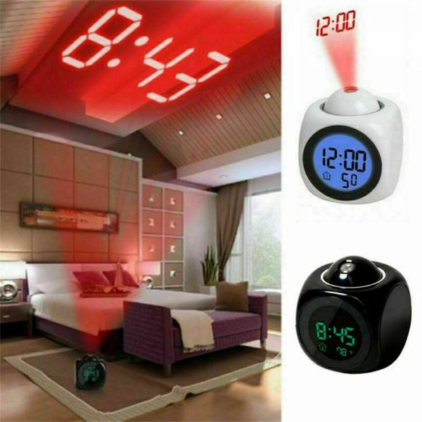 Alarm Clock Led Wallceiling Projection Lcd Digital Voice Talking Temperature (6)