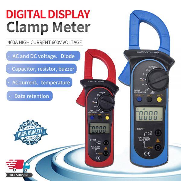 Ammeter Multimeter Handheld Lcd Clamp Digital Acdc Volt Capacitance Tester (1)