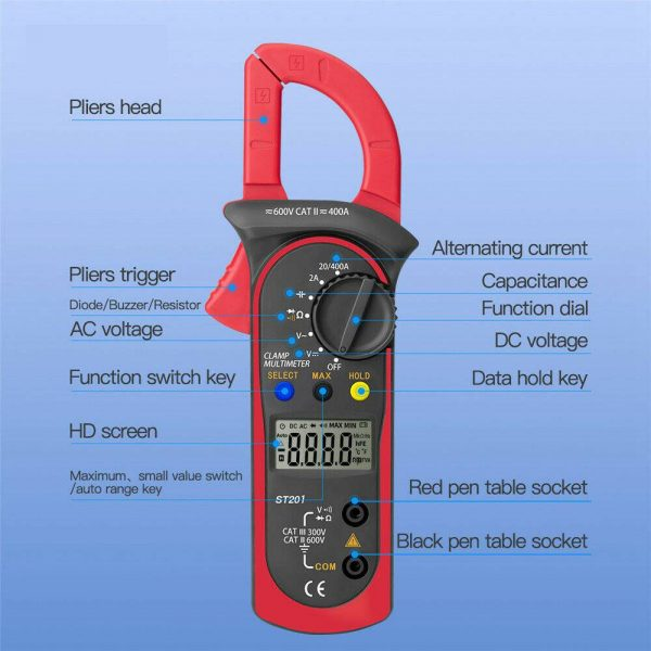 Ammeter Multimeter Handheld Lcd Clamp Digital Acdc Volt Capacitance Tester (3)