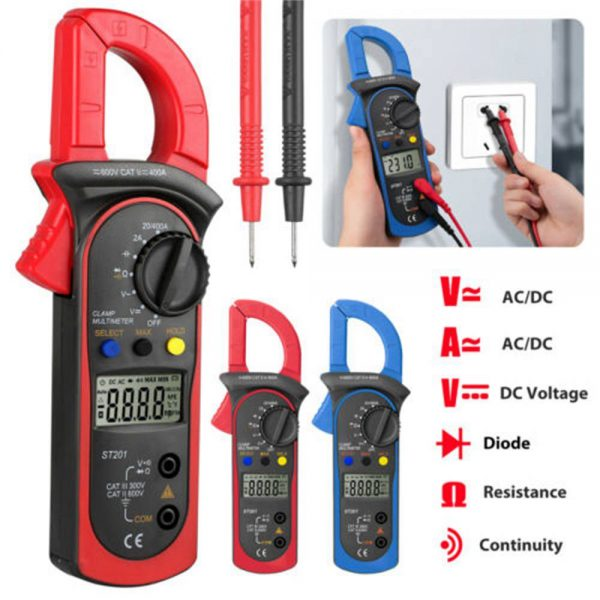 Ammeter Multimeter Handheld Lcd Clamp Digital Acdc Volt Capacitance Tester (4)