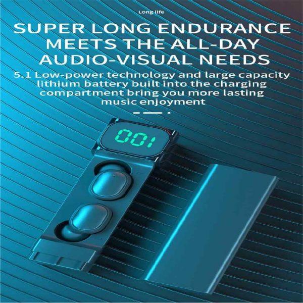 Bqc 01 Wireless Bluetooth Led Private Model Pull Smart Stereo Ports Digital Display Earphone (2)