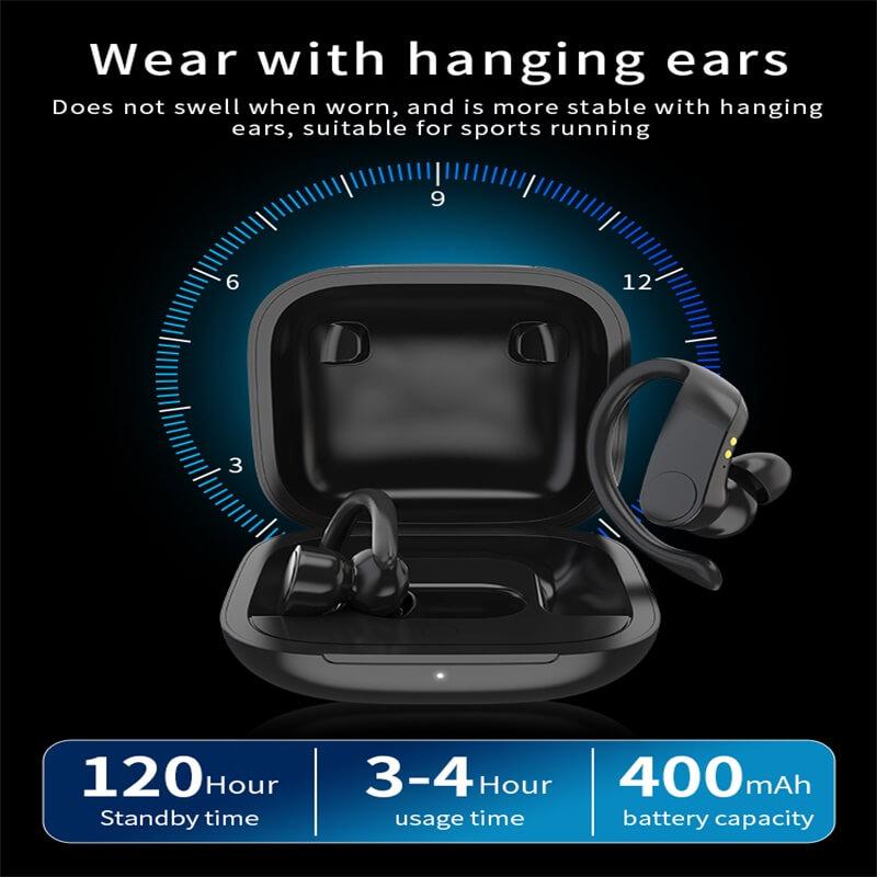 Black Sports Earhooks Tws Earpiece Ture Power Display Quiet Comfort Earbuds (2)