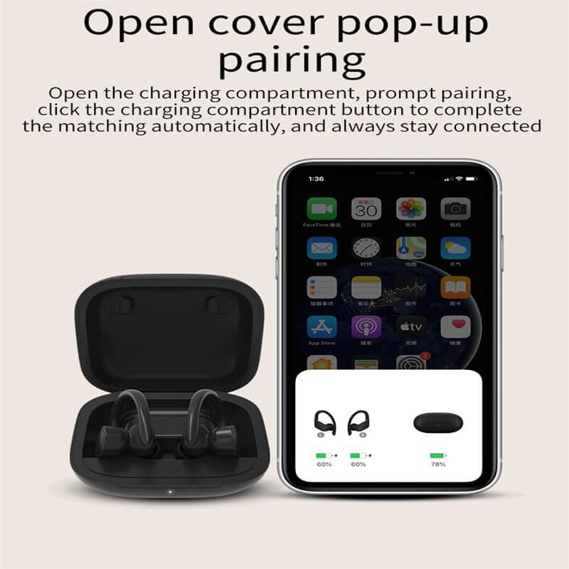 Black Sports Earhooks Tws Earpiece Ture Power Display Quiet Comfort Earbuds (9)