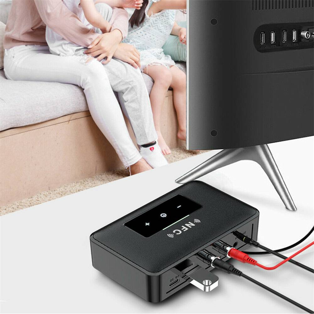 Bluetooth 5.0 Transmitter Receiver Wireless 3.5mm Aux Nfc To 2 Rca Audio Adapter (10)