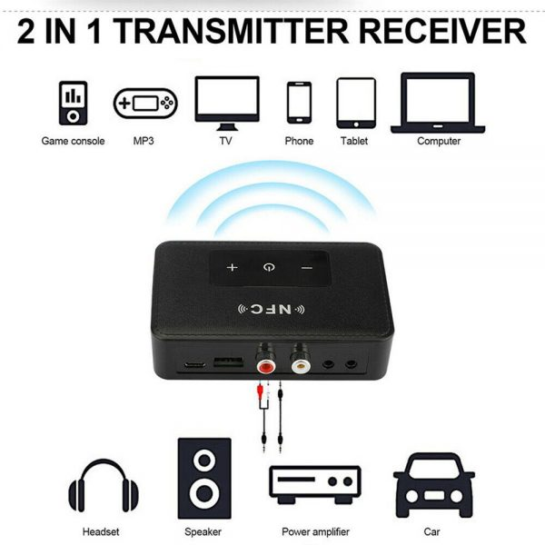 Bluetooth 5.0 Transmitter Receiver Wireless 3.5mm Aux Nfc To 2 Rca Audio Adapter (13)