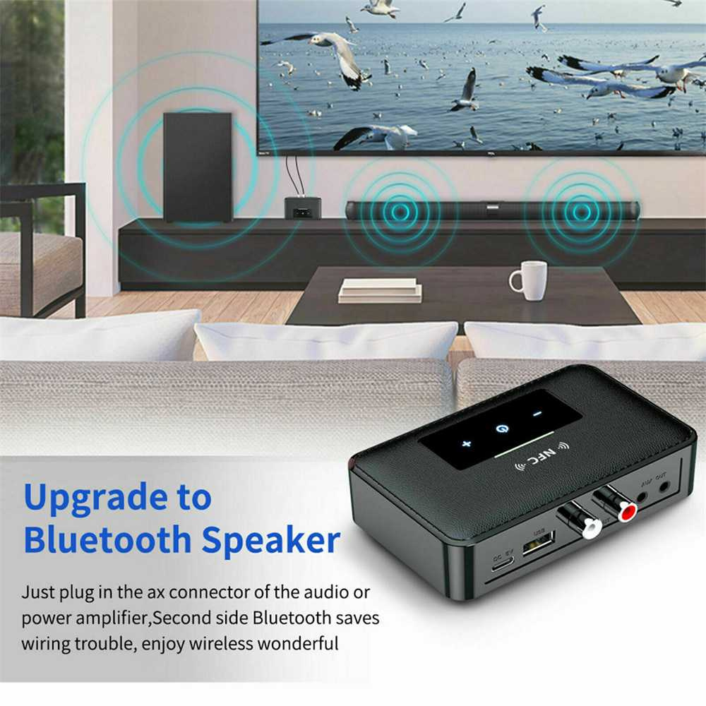 Bluetooth 5.0 Transmitter Receiver Wireless 3.5mm Aux Nfc To 2 Rca Audio Adapter (17)
