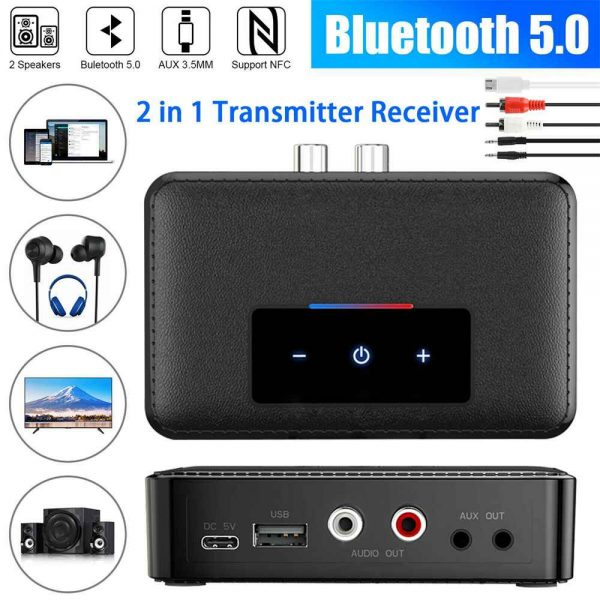 Bluetooth 5.0 Transmitter Receiver Wireless 3.5mm Aux Nfc To 2 Rca Audio Adapter (2)