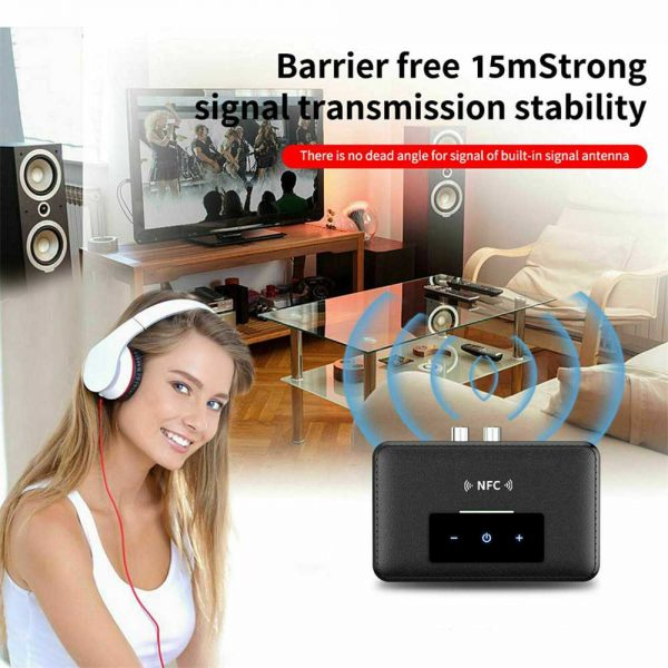 Bluetooth 5.0 Transmitter Receiver Wireless 3.5mm Aux Nfc To 2 Rca Audio Adapter (3)