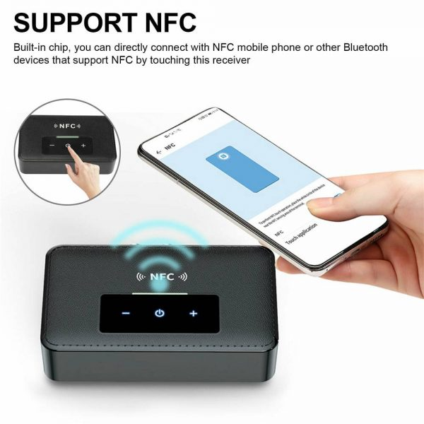 Bluetooth 5.0 Transmitter Receiver Wireless 3.5mm Aux Nfc To 2 Rca Audio Adapter (5)