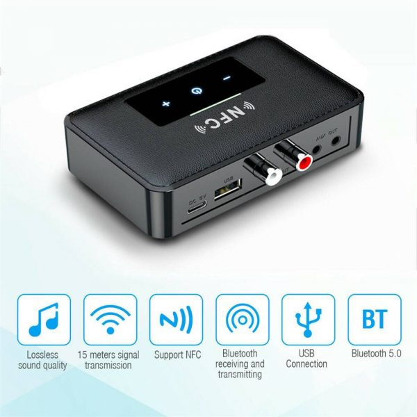 Bluetooth 5.0 Transmitter Receiver Wireless 3.5mm Aux Nfc To 2 Rca Audio Adapter (6)