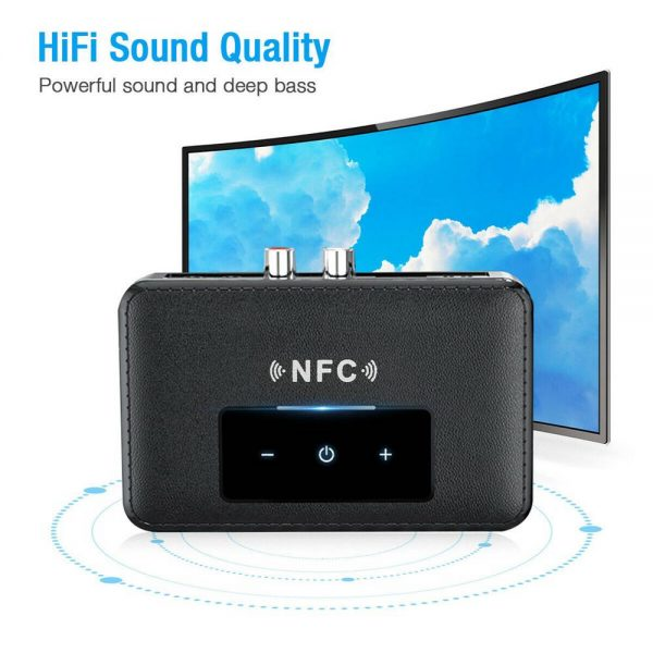 Bluetooth 5.0 Transmitter Receiver Wireless 3.5mm Aux Nfc To 2 Rca Audio Adapter (7)