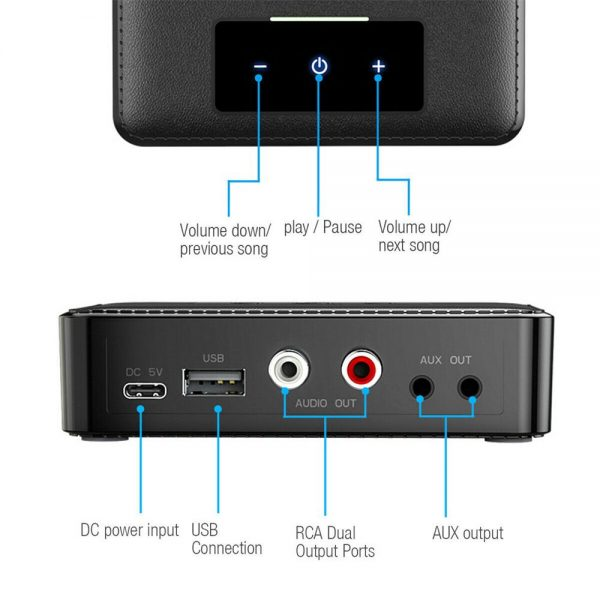 Bluetooth 5.0 Transmitter Receiver Wireless 3.5mm Aux Nfc To 2 Rca Audio Adapter (8)